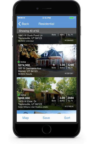 iPhone displaying Utahrealestate.com mobile website